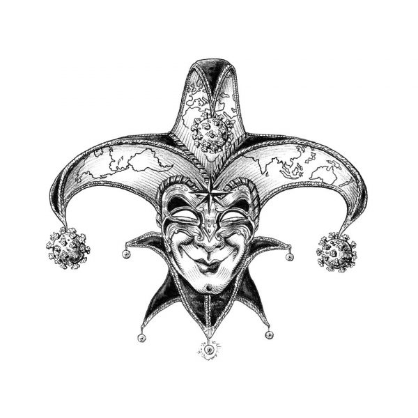 ink illustration on paper representing a venetian carnival mask of a fool with a disturbing smile and a three-pointed hat hanging from which three covid-19 molecules.