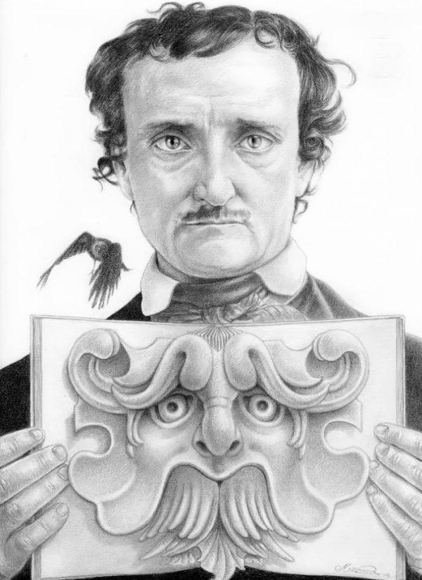 Edgar Allan Poe graphite portrait by Miriam Tritto