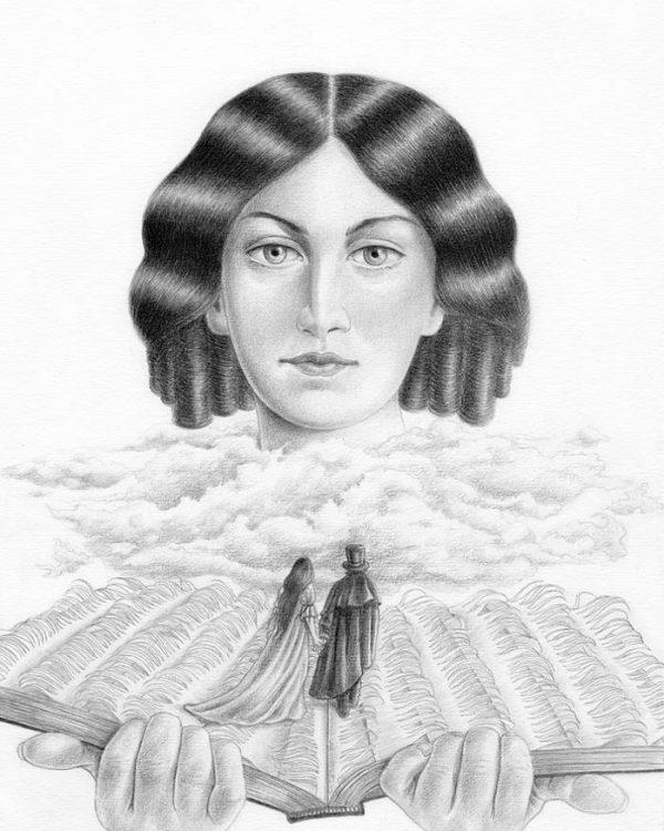 Emily Brontë graphite portrait by Miriam Tritto