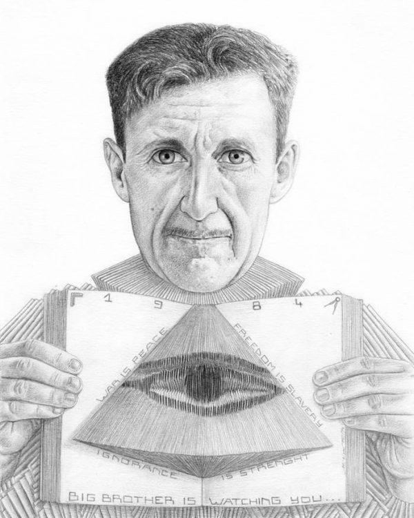 George Orwell graphite portrait by Miriam Tritto