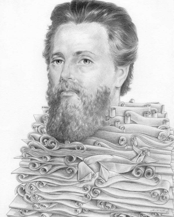 Hermann Melville graphite portrait by Miriam Tritto
