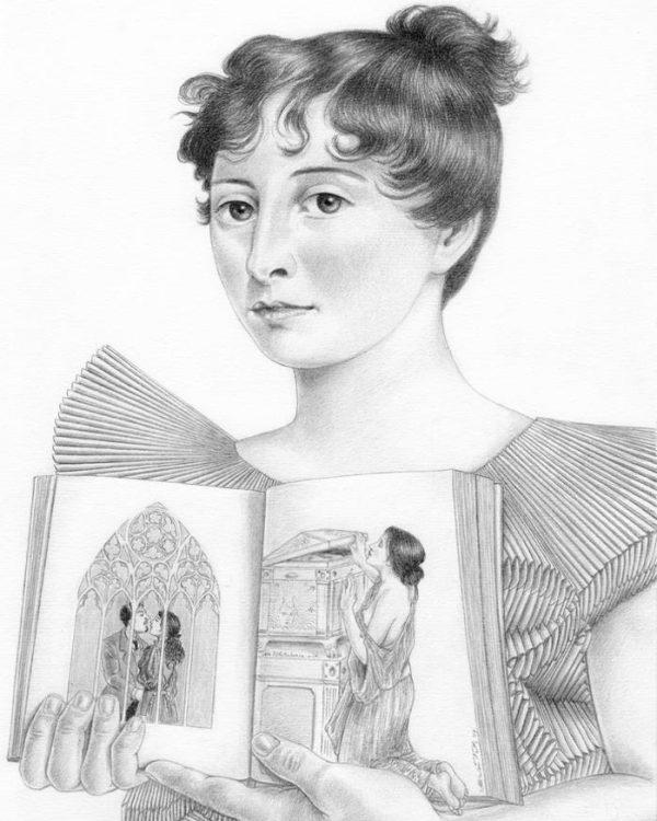 Jane Austen graphite portrait by Miriam Tritto