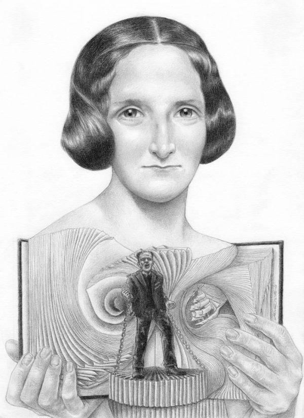 Mary Shelley graphite portrait by Miriam Tritto.
