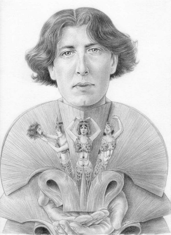 Oscar Wilde graphite portrait by Miriam Tritto.