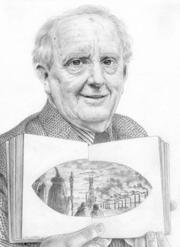 J. R. R. Tolkien graphite portrait by Miriam Tritto.