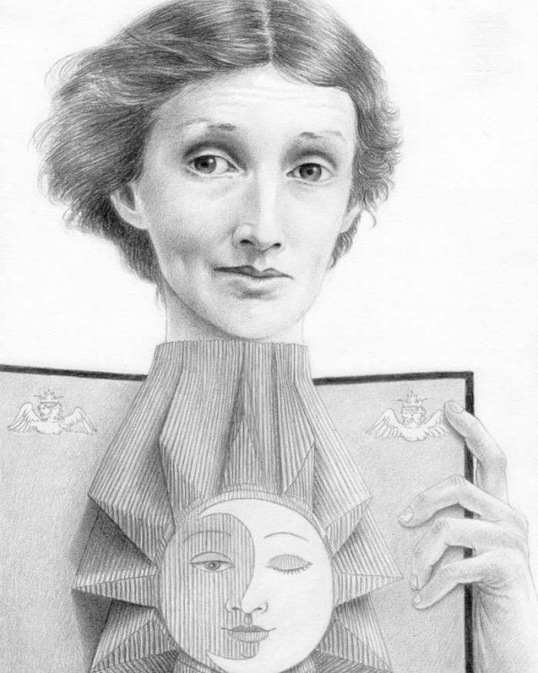 Virginia Woolf graphite portrait by Miriam Tritto.